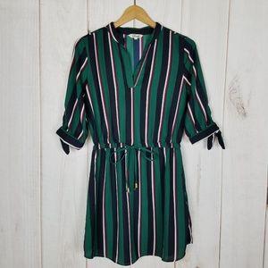 Hint Of Blush | Green Striped Dress V Neck - Small